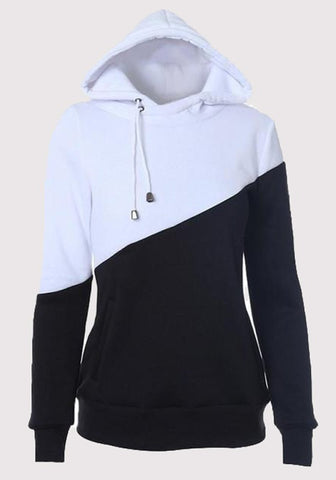 Black Drawstring Pockets Long Sleeve Hooded Sports Casual Pullover Sweatshirt