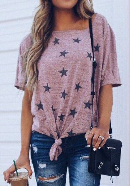 Pink Star Print Knot Round Neck Going out Casual T-Shirt