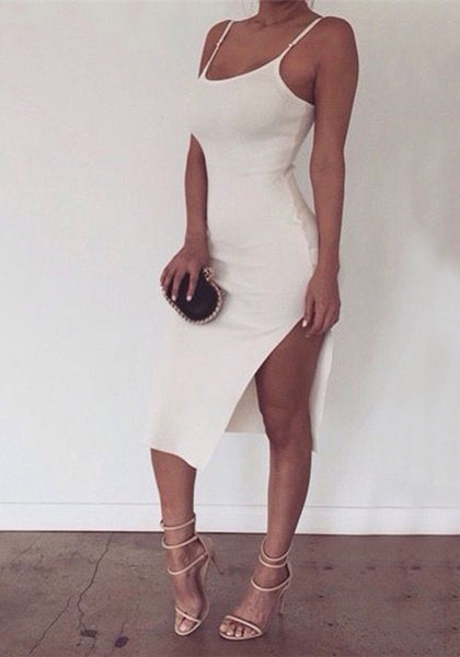 White Irregular Spaghetti Strap Side Slit Plus Size Bodycon Clubwear Midi Dress