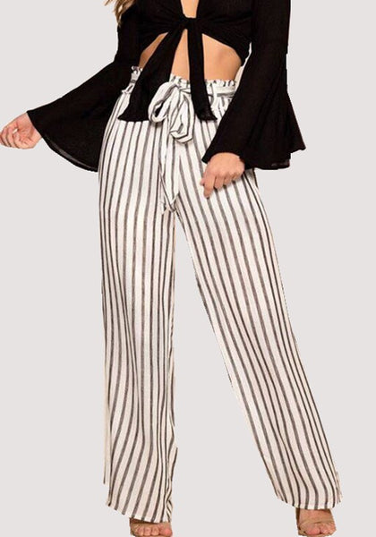 Grey Striped Sashes High Waisted Office Worker/Daily Casual Wide Leg Long Pants