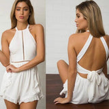 White Tie Back Hollow-out Cut Out Open Back Off-Shoulder Short Jumpsuit
