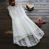White Patchwork Hollow-out Lace Irregular Zipper Fashion Midi Dress