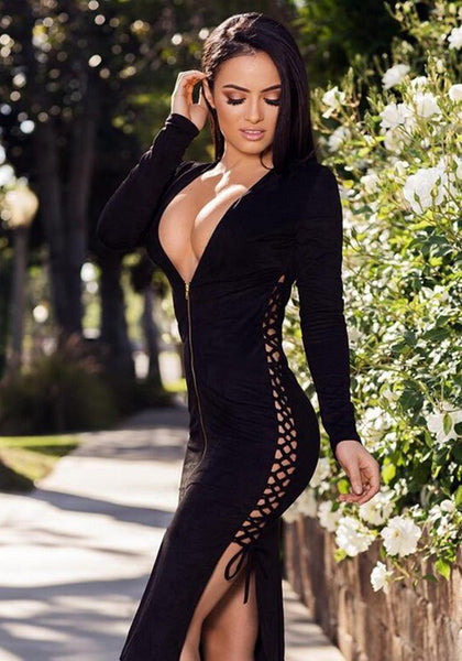 Black Lace-up Zipper Prom Evening Party Slits On Both Sides Midi Dresses