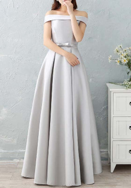 Grey Cross Draped Bow Off Shoulder Backless Bridesmaid Elegant Party Maxi Dress