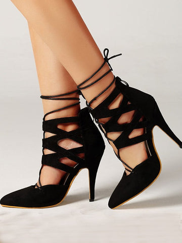 Black Point Toe Stiletto Fashion High-Heeled Sandals