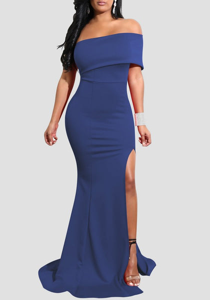 Sapphire Blue Side Slit Bodycon Off Shoulder Backless Elegant Party Maxi Dress