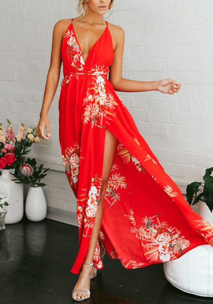 Red Spaghetti Strap High-Low Flowy Deep V-neck Sun Bohemian Party Maxi Dress