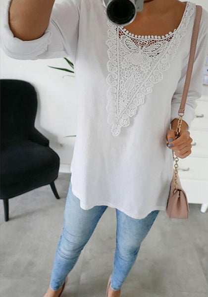 White Patchwork Lace Round Neck Long Sleeve Blouse