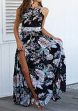 Black Flowers Print Tie Back Draped Backless Side Slit Bohemian Maxi Dress