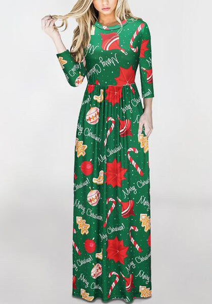 Green Floral Print Pockets Round Neck Long Sleeve Fashion Maxi Dress