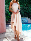 Apricot Cut Out Bodycon Round Neck Party Maxi Dress