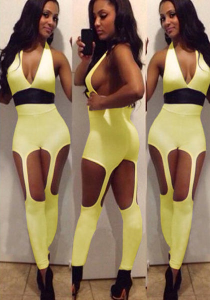 Yellow Plain Cut Out Fashion Long Jumpsuit