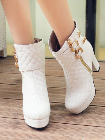 White Round Toe Belt Buckle Zipper Chunky Fashion Boots