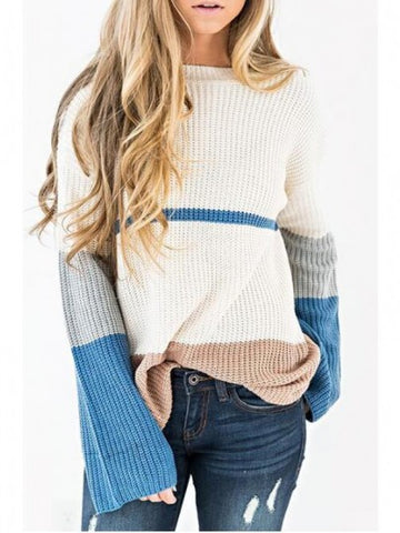 White Color Block Draped Flare Sleeve Oversized Casual Pullover Sweater