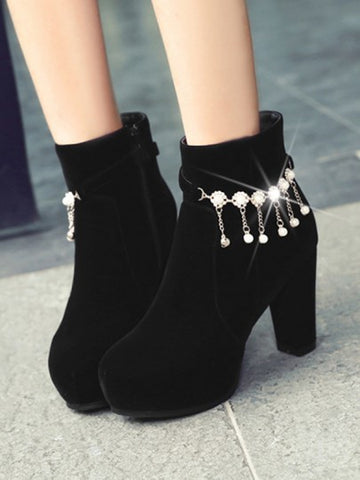 Black Round Toe Chunky Pearl Chain Fashion Ankle Boots