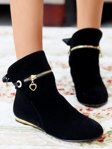 Black Round Toe Zipper Sequin Bow Fashion Ankle Boots