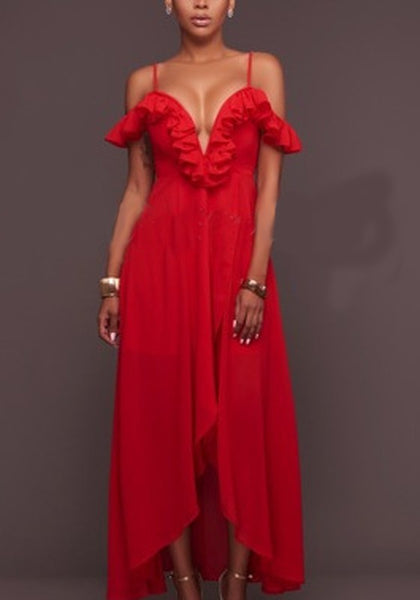 Red Irregular Ruffle Spaghetti Strap High-Low Deep V-neck Beach Resort Party Maxi Dress
