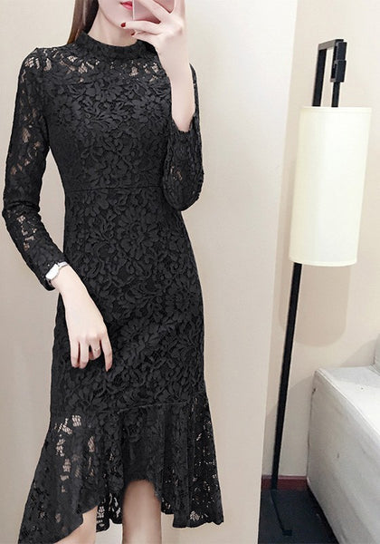 Black Floral Lace Cut Out Band Collar Fashion Midi Dress