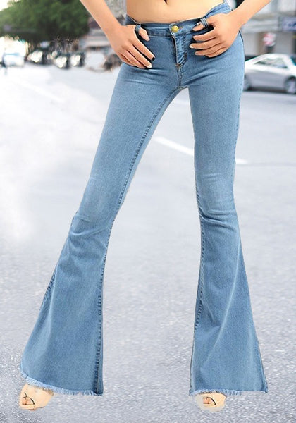 Light Blue Buttons Pockets Tassel High Waisted Boyfriend Long Flare Jeans