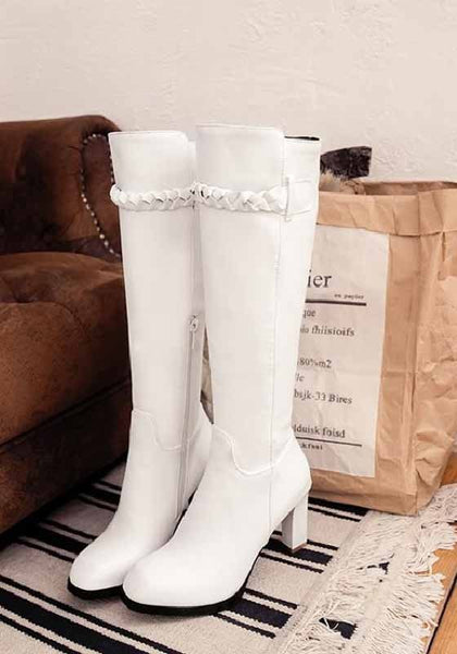 White Round Toe Chunky Casual Knee-High Boots