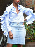 White Ruffle Buttons Turndown Collar Long Sleeve Sweet Blouse