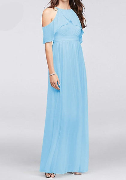 Sky Blue Cut Out Ruffle Halter Neck Sarapis Sundresses Party Chiffon Maxi Dress