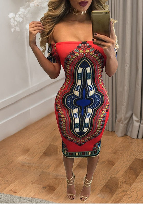 Red Tribal Print Off Shoulder Backless Bodycon Party Midi Dress
