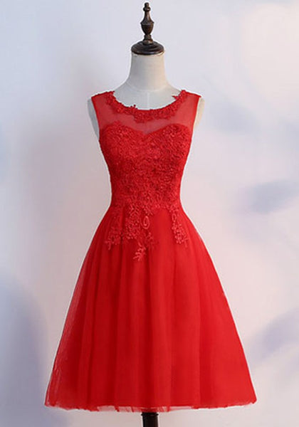 Red Lace Grenadine Draped Fluffy Puffy Tulle Bridesmaid Elegant Party Midi Dress