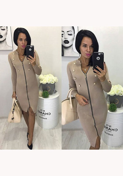 Khaki Plain Zipper Double Breasted V-neck Fashion Midi Dress