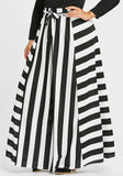 Black-White Striped Sashes Draped Plus Size High Waisted Casual Skirt