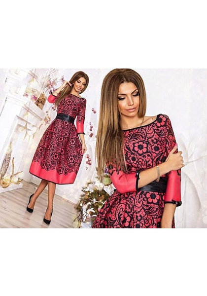 Red Floral Bow Belt Round Neck Long Sleeve Fashion Midi Dress
