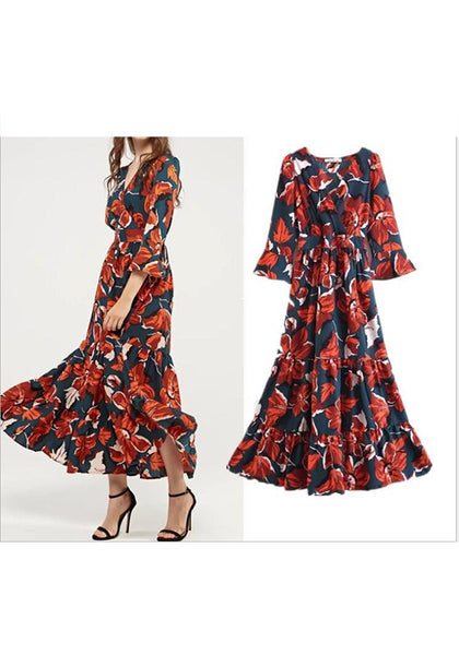 Multicolor Floral Print Ruffle V-neck Bohemian Maxi Dress