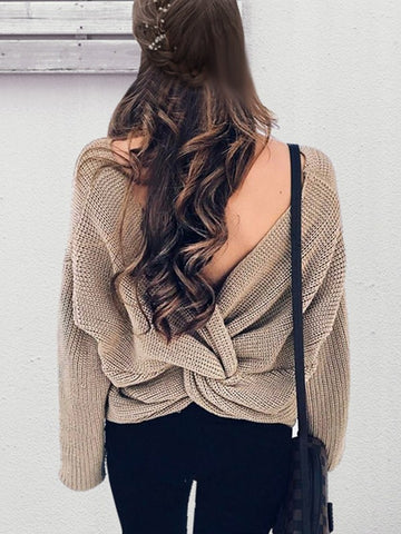 Apricot Irregular Cross Back Backless Cut Out V-neck Long Sleeve Casual Sweater
