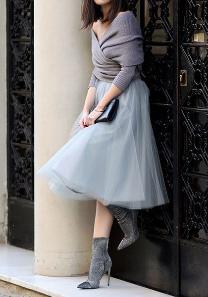 Grey Grenadine Pleated Oversize Tulle Tutu High Waisted Skirt