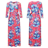 Red Floral Print Sashes V-neck Fashion Maxi Dress