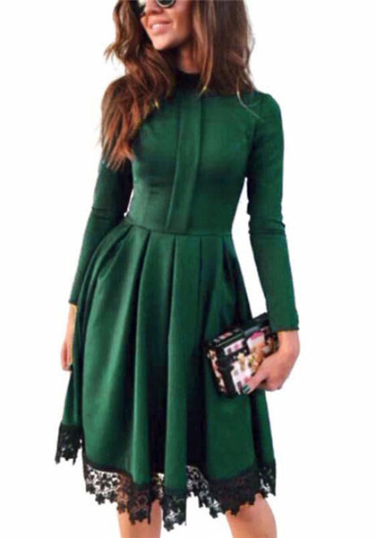 Green Patchwork Lace High Neck Going out Midi Dress