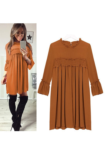 Copper yellow Pleated Round Neck Three Quarter Length Sleeve Midi Dress