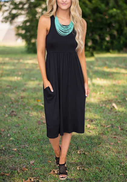 Black Draped Pockets High Waisted Casual Going out Midi Dress