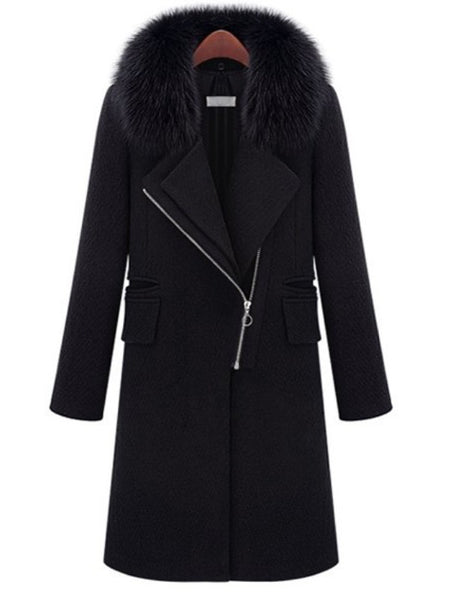 Black Patchwork Zipper Pockets Fur Collar Fashion Outerwear