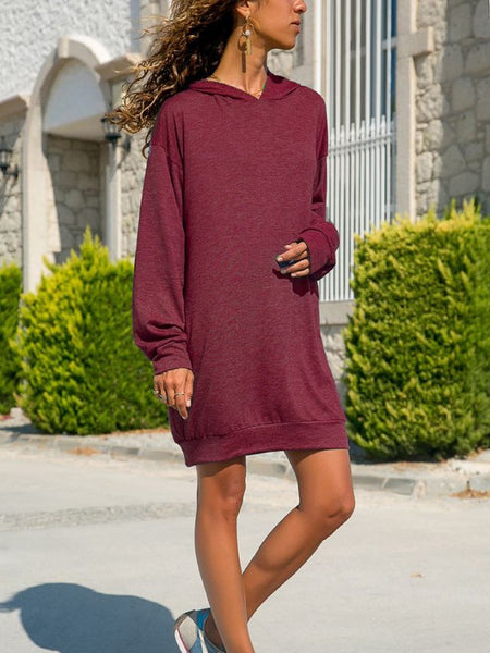 Red Draped Hooded Long Sleeve Casual Sweatshirt