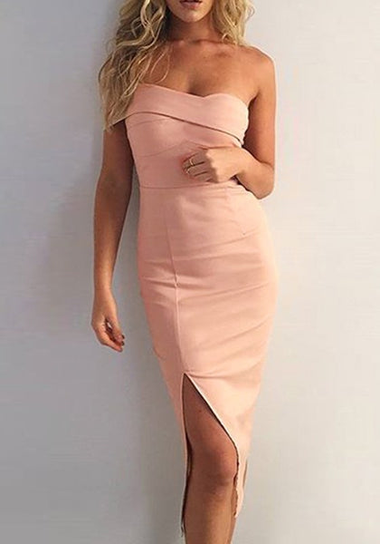 Pink Bandeau Slit Side Irregular Fashion Midi Dress