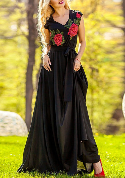 Black Embroidery Draped Flowy Banquet Elegant New Year Eve Party Maxi Dress