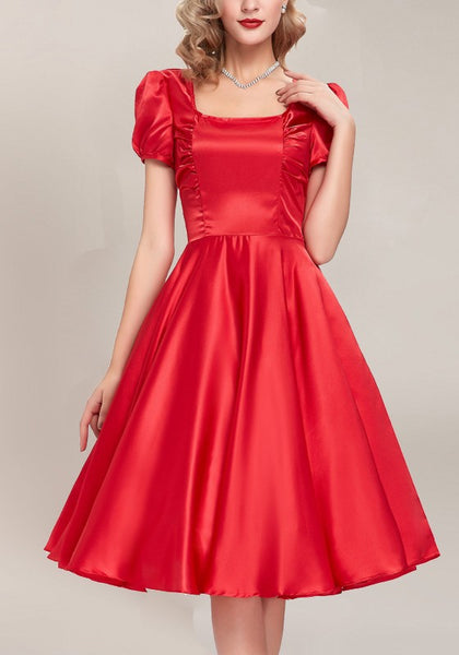 Red Plain Pleated Square Neck Short Sleeve Elegant Midi Dress