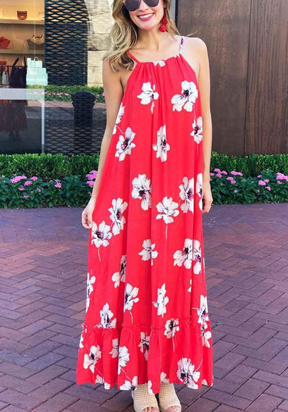 Red Floral Draped Print Off Shoulder Backless Maxi Dress