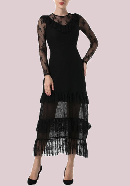 Black Patchwork Lace Draped Round Neck Long Sleeve Homecoming Party Midi Dress