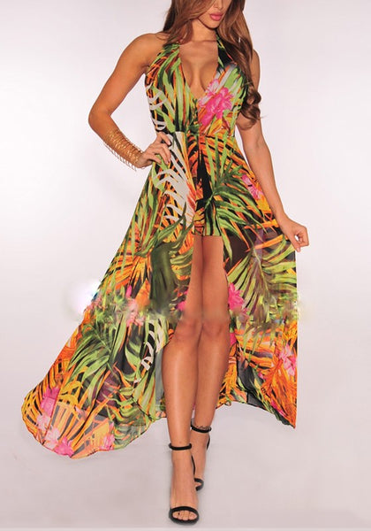 Green Floral Slit Peplum Backless Halter Neck Deep V-neck Bohemian Maxi Dress