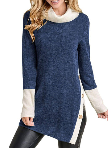Sapphire Blue Patchwork Buttons Side Split High Neck Fashion Sweatshirt