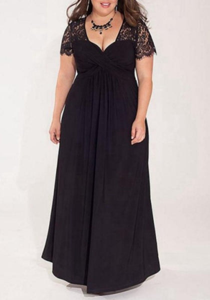 Black Patchwork Lace Draped Plus Size Deep V-neck Party Maxi Dress