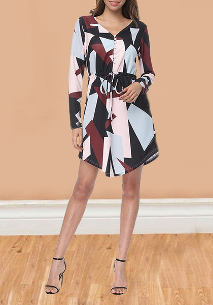 Black Geometric Pattern Sashes High Waisted Long Sleeve Casual Midi Dress