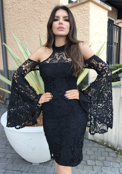 Black Lace Slit Off Shoulder Bell Sleeve Sweet Bodycon Party Midi Dress